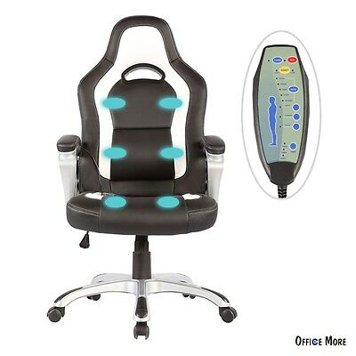 Race Car Computer Office Massage Chair Heated 6 Vibrating PU Leather Ergonomic