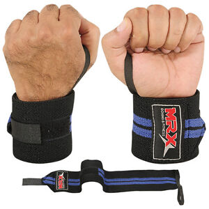 WEIGHT LIFTING TRAINING WRIST SUPPORT COTTON WRAPS GYM BANDAGE STRAPS BLUE