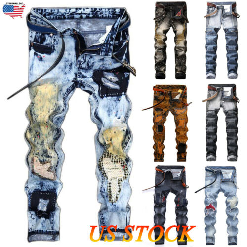 Men Ripped Biker Skinny Jeans Frayed Destroyed Fashion Trous