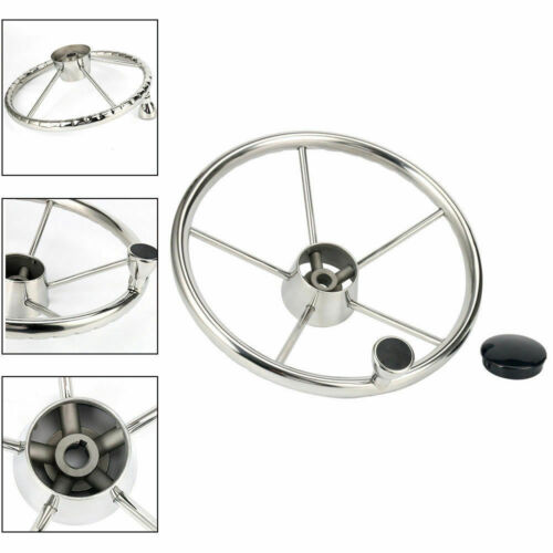 13-1/2Inch 5 Spoke Stainless Boat Steering Wheel Destroyer Style w/ Knob US Ship