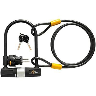Bike U Lock With Cable - Via Velo Heavy Duty Bicycle U-Lock, 14mm Shackle And