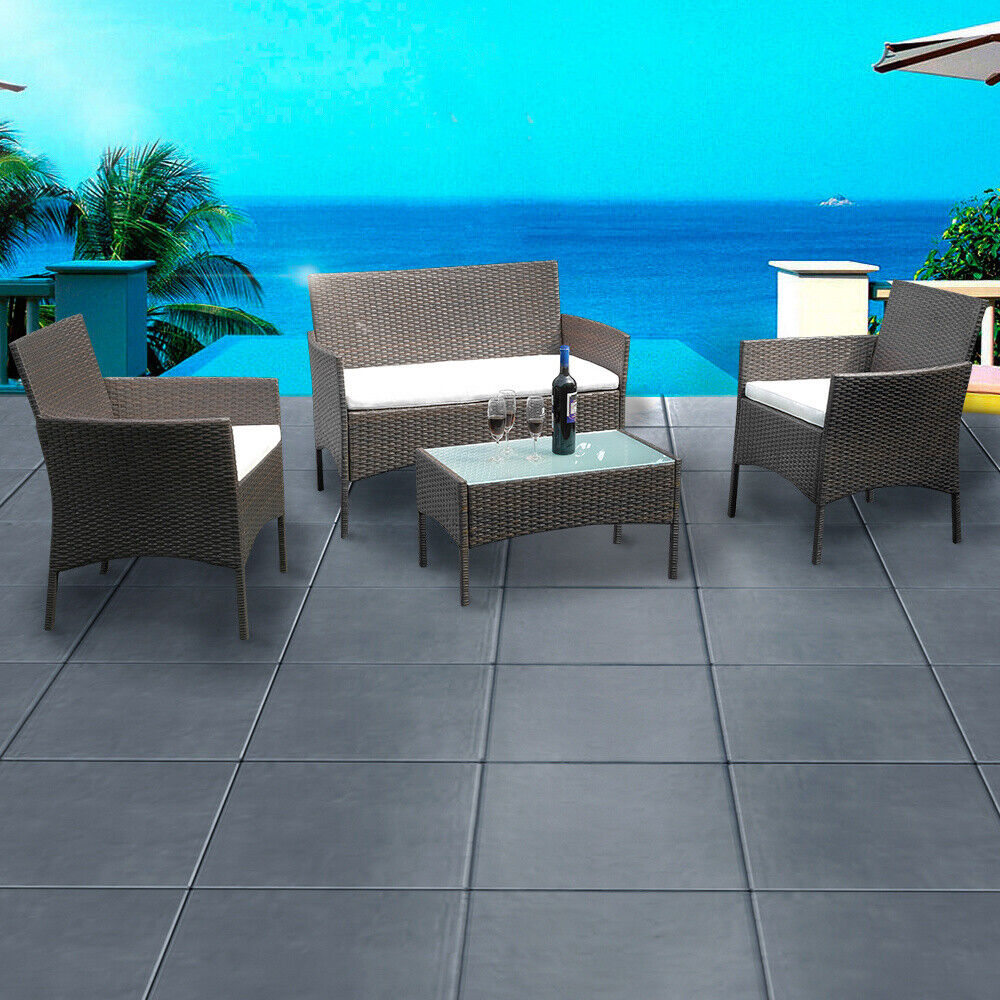 Garden Furniture - Rattan Garden Furniture Set 4 Piece chairs sofa Table Outdoor Patio Conservatory