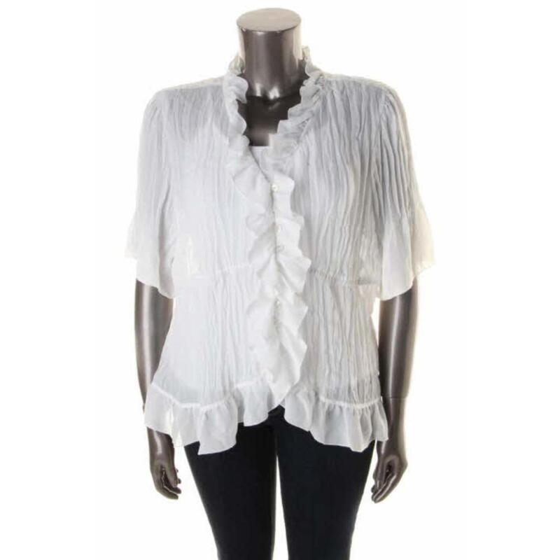 White Ruffle Blouse Plus Size 91
