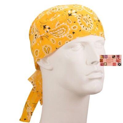 GOLD Yellow Paisley FITTED BANDANA w/TIES Head Wrap Skull Cap DOO DO Du Rag TIED - Gold Bandanas