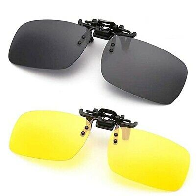 Polarized Night Vision Flip-up Clip-on Lens Driving Glasses Sunglasses L (Polarised Vision)