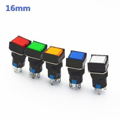 16mm Square Latching Push Button Switch Self-reset Led Light 5-pins