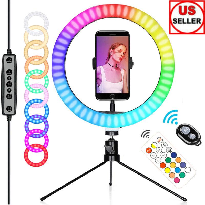 "10"" RGB LED Ring Light w/ Tripod Stand & Phone Holder Remote Kit For Live Stream"