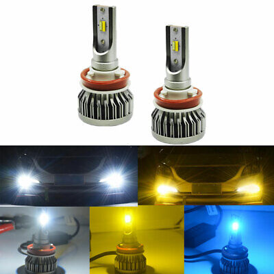 2pcs Bright Triple Color Switchback LED Bulbs For Fog Daytime Driving DRL Lights](Led Ice Cube Lights Wholesale)