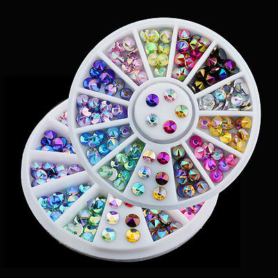 12 Color 3D Nail Art Tips Gems Acrylic Glitter Rhinestone DIY Decoration Wheel  for sale  Shipping to Canada