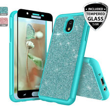 For Samsung Galaxy J7 Star/Crown/V 2018 Bling Glitter Armor Case+Tempered Glass
