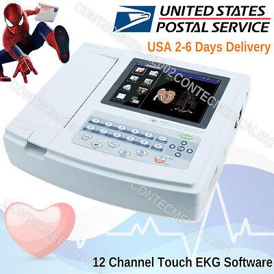 Touch Portable Digital 12-channel 12-lead Electrocardiograph Ecg Machine Ekgusa