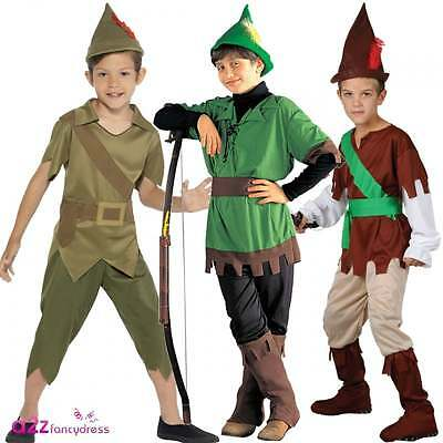 Boys Robin Hood Prince Of Thieves Book Day Childs Kids Fancy Dress Costume + Hat (Robin Hood Kostüme Hat)