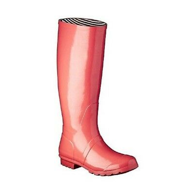 Women's Classic Knee High Waterproof Rubber Rain Boots - Coral - Size 7 - New