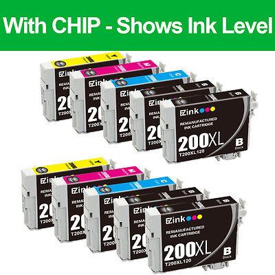 10 Pack Black & Color Ink Cartridges Set for 200XL 200XL fit Epson T200XL T200