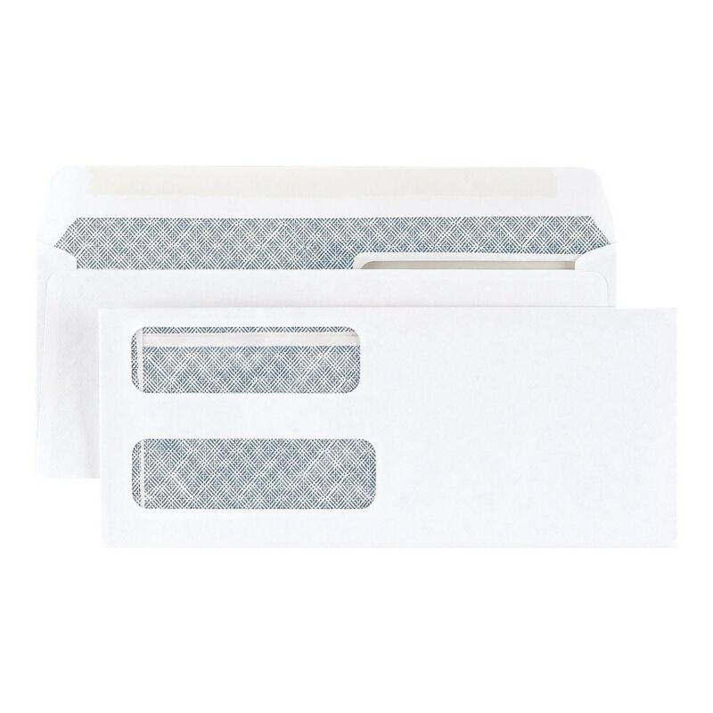 Staples Gummed Laser Double-Window Security-Tint Envelopes 500/BX 394062