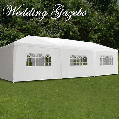 10'x30' Outdoor Canopy Party Wedding Tent White Gazebo Pavilion w/8 Side Walls