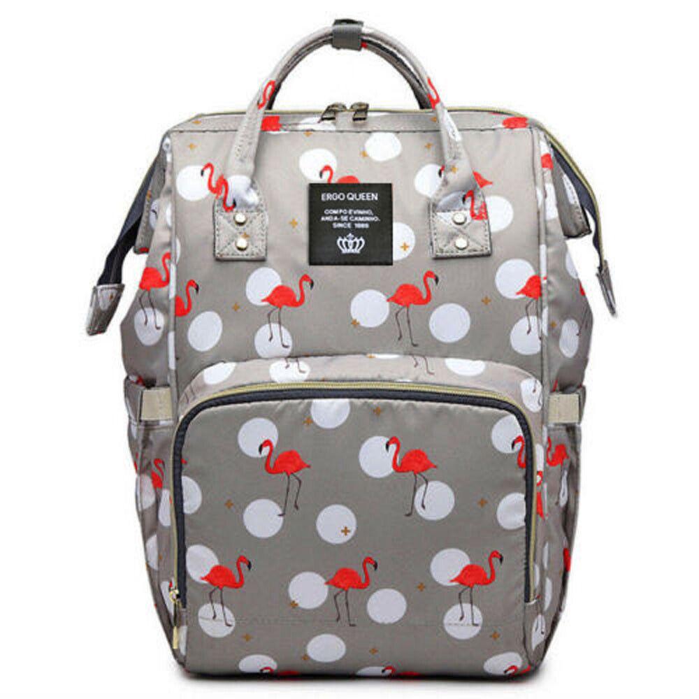 Ergo Diaper Bag Backpack Mummy Maternity Nappy Large Capacity Baby Bag Travel  Gray Flamingo