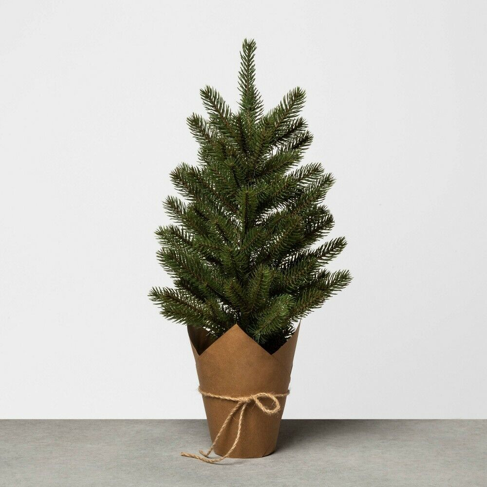 Hearth & Hand with Magnolia Large 22″ Faux Pine Christmas Tree with Craft Paper Holiday & Seasonal Décor