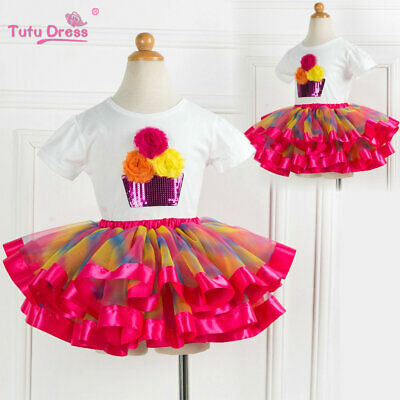 Girls Kids Cupcake Rainbow Birthday Tutu Outfit Top + Tutu Skirt Dress Set ZG9 - Cupcake Tutu Outfit