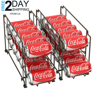 2 Mess Canned Food Dispenser Can Organizer Refrigerator Soda Coke Storage Rack