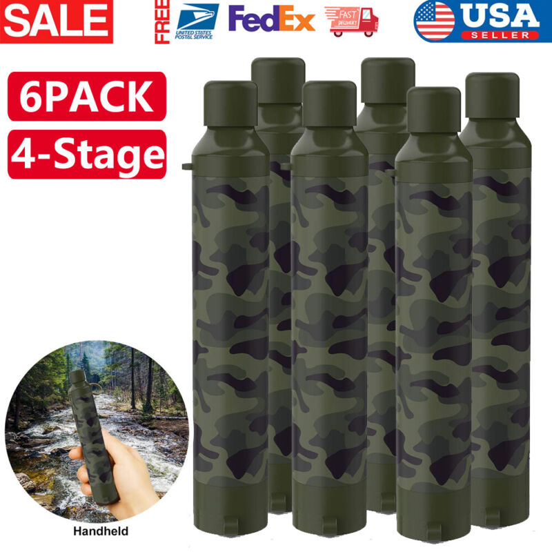 1-6 Pack Water Filter Straw Portable Personal Water Purification Filter Survival
