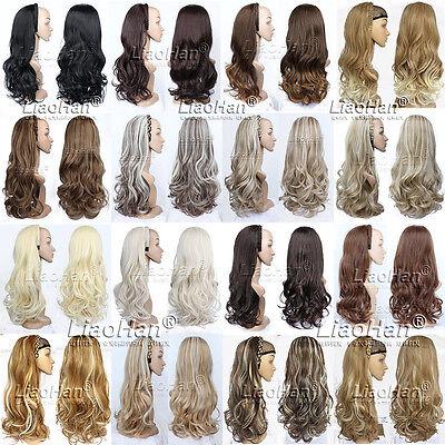 3 4 Wig Hairpiece Long Wavy Natural Hair Fall With Headband Women Half Wig Fall