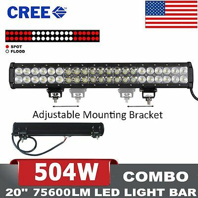"20inch 504W LED LIGHT BAR COMBO Offroad DRIVING LAMP 4WD LENS VS 22"" 24"" 126W"