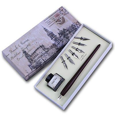 Featty Quill Pen Set Antique Dip Wooden Pen Calligraphy Writing With 6 Pcs Nibs