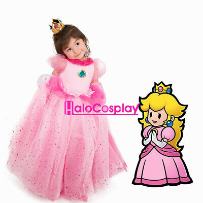 Princess Peach Costume For Kids (Child Girls Princess Peach Dress Halloween Costume for Kids with)