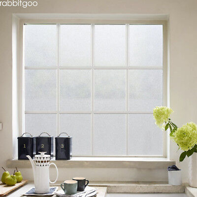 Rabbitgoo white frosted window film privacy static cling for office & bathroom - Frosted White Privacy Window Film
