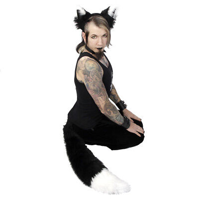 Black Wolf Ears And Tail (PAWSTAR FOX Ears & TAIL Set - COSTUME FURRY wolf White Big BLACK)
