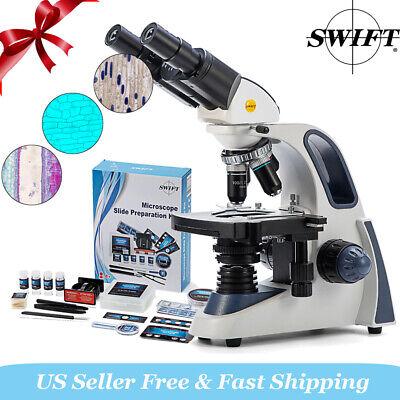 Swift 2500x Sw380b Binocular Compound Microscope 66pcs Experimental Science Kit