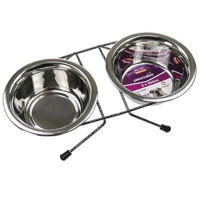 Dog Cat Pet Bowl On Stand 350ml Each Elevated Bowls Stainless Steel
