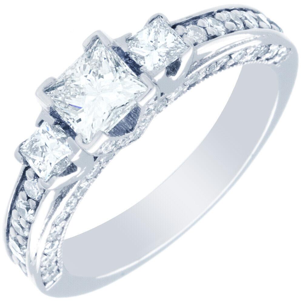 GIA Certified Diamond Engagement Ring 2.39 CTW Princess & Round Cut 18k Gold