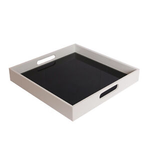 White Lacquer Square Tray with Black Mirror Bottom