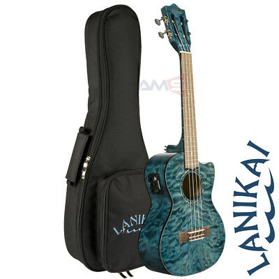 Lanikai QM-BLCET Quilted Maple Blue Satin Tenor Acoustic Electric Ukulele + Bag for sale  Shipping to India