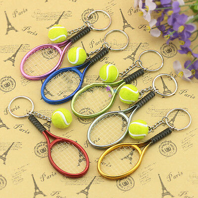 Mini Tennis Ball Racket Pendant Keyring Key Chain Creative Sports Collectibles