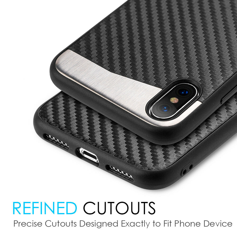 Купить Unbranded/Generic iPhone X / iPhone XS - iPhone X / XS / 10S - Magnetic Backplate BLACK Carbon Fiber Rubber Case Cover