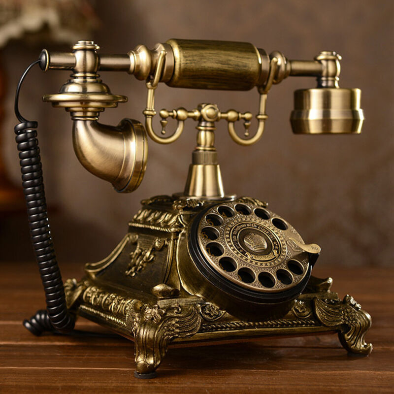 Retro European Style Telephone Vintage Old Fashioned Rotary Dial Phone Home USA