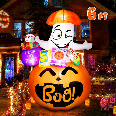 6ft Halloween Inflatable Mushroom Pumpkin Airblown Blow Up Outdoor Yard Decor US