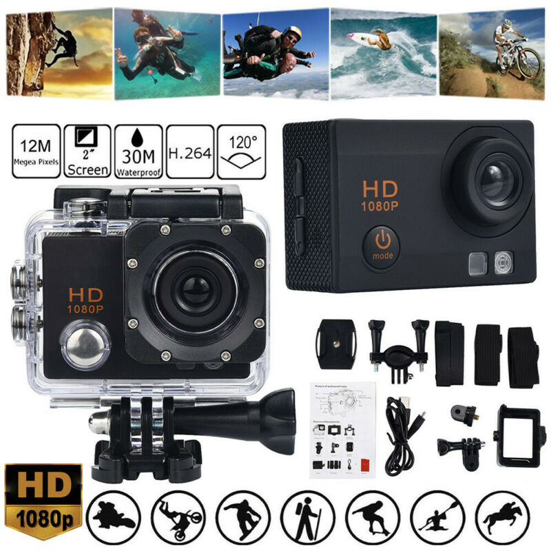 Action Camera 1080P 12MP Sports Camera Waterproof Action Cam