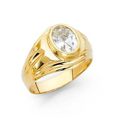 Oversize Men 14k Yellow Real Gold Oval Big CZ Round Fashion Wedding Ring Band