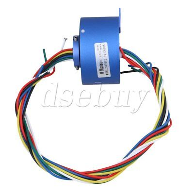 Blue 6 Wires 12.7mm Diameter 380v 10a Metal Via Hole Capsule Slip Ring