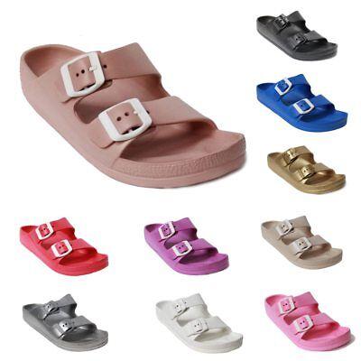 Womens Lightweight Comfort Soft Slides EVA Adjustable Buckle Flat Sandals Shoes