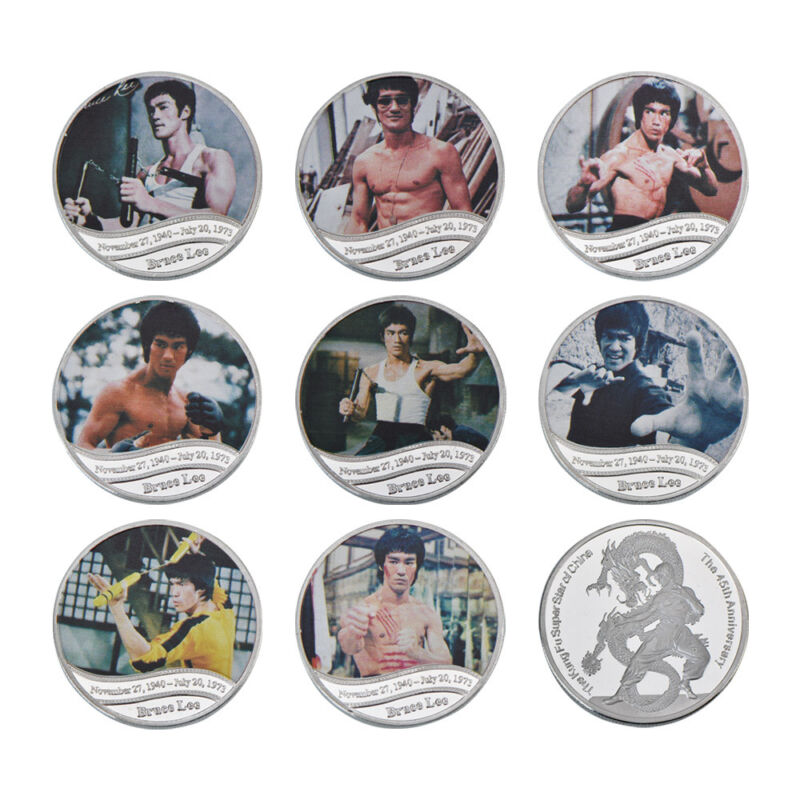 WR 8pcs 45th Anniversary of Bruce Lee Silver Commemorative Coin Set Kung Fu Gift
