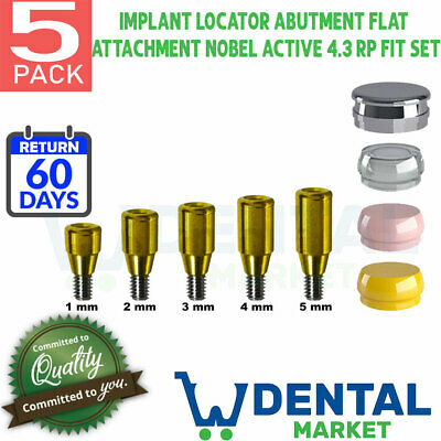 X 5 Implant Locator Abutment Flat 1-5 Attachment Nobel Active 4.3 Rp Fit Set