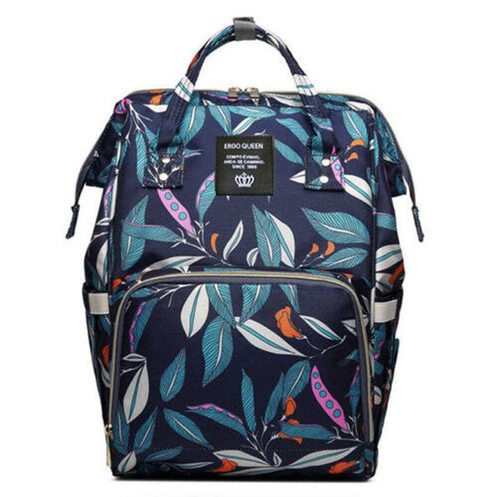 Ergo Diaper Bag Backpack Mummy Maternity Nappy Large Capacity Baby Bag Travel  Navy  Leaves