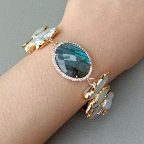 Natural Blue Lapis Bezel Set White Biwa Pearl Gold Plated Bracelet  8/'/'