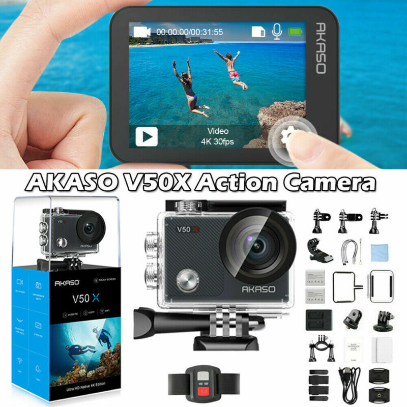 AKASO V50X Native 4K/30fps WiFi Action Camera 2019 New Touch Screen HD Camcorder