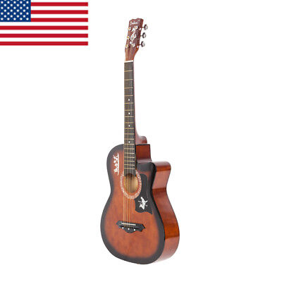 Exquisite Basswood Body Acoustic Guitar with Gig Bag Picks Strap Tuner Pickguard
